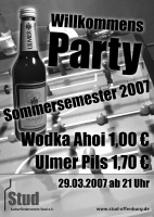 Plakat für Wilkommens-Party