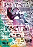 Plakat für Bad Taste-Party